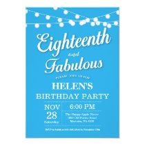 18th Birthday Invitation Blue Fabulous