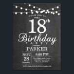 """18th Birthday Invitation Chalkboard String Lights<br><div class=""""desc"""">18th Birthday Invitation with Chalkboard String Lights. 16th 18th 21st 30th 40th 50th 60th 70th 80th 90th 100th,  Any age. For further customization,  please click the """"Customize it"""" button and use our design tool to modify this template.</div>"""