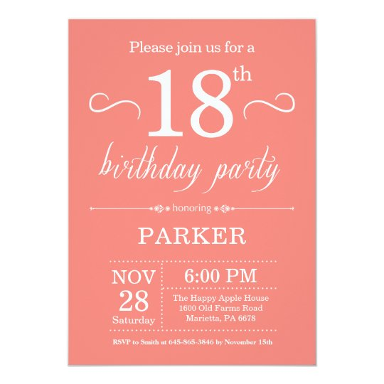 18th Birthday Invitation Coral