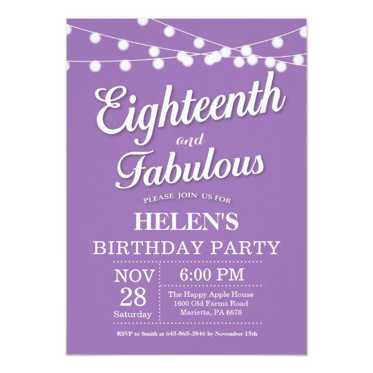 18th Birthday Invitation Purple Fabulous