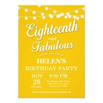 18th Birthday Invitation Yellow Fabulous