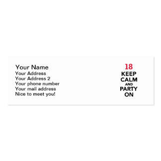 18th birthday Keep calm and party on Mini Business Card