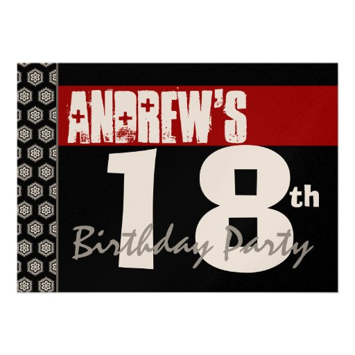 18th Birthday Modern For Him Red White Black W367 Custom Announcements