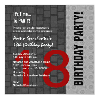 18th Birthday Modern Red Silver Black D417 5.25x5.25 Square Paper Invitation Card