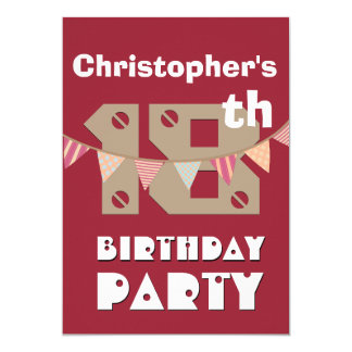 18th Birthday Modern Style with Bunting Flags V03 Card