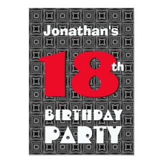18th Birthday Modern Teen Black White Pattern A02 Card