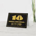 "[ Thumbnail: 18th Birthday: Name + Art Deco Inspired Look ""18"" Card ]"