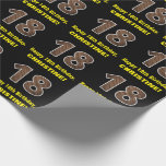 "[ Thumbnail: 18th Birthday: Name & Faux Wood Grain Pattern ""18"" Wrapping Paper ]"