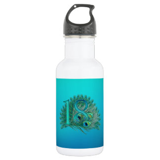 18th birthday or anniversary peacock numbers stainless steel water bottle