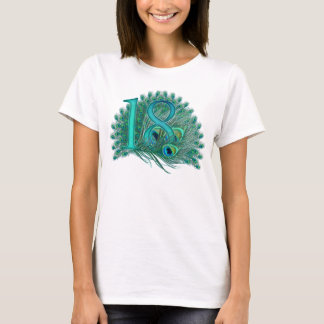18th birthday or anniversary peacock numbers T-Shirt