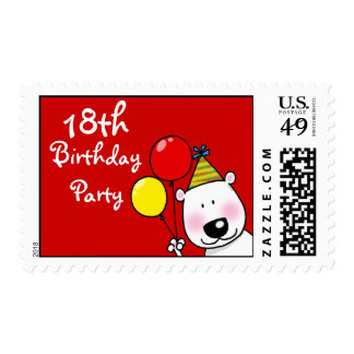 18th birthday party balloons (party dog) postage stamps