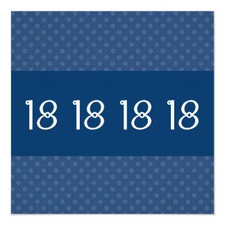18th Birthday Party Blue Polka Dot Pattern W1631 Card