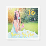 Hand shaped 18th birthday party custom photo faux gold script paper napkin