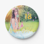 Hand shaped 18th birthday party custom photo faux gold script paper plate