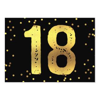 18th Birthday Party Faux Gold Foil Confetti Black Card