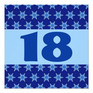 18th Birthday Party Festive Blue Stars W874 Card