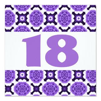 18th Birthday Party Festive Purple Flowers W934 Invitation