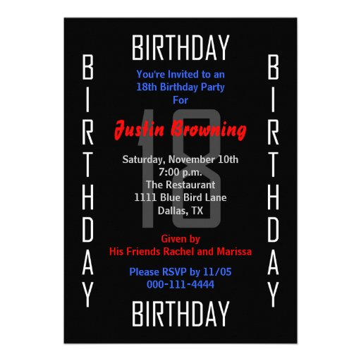 18th birthday party invitation 18 invitation zazzle. Black Bedroom Furniture Sets. Home Design Ideas