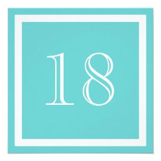 """18th Birthday Party Invitation - Aqua 5.25"""" Square Invitation Card"""