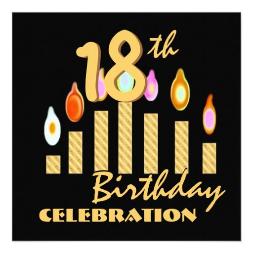 18th Birthday Party Invitation Gold Candles