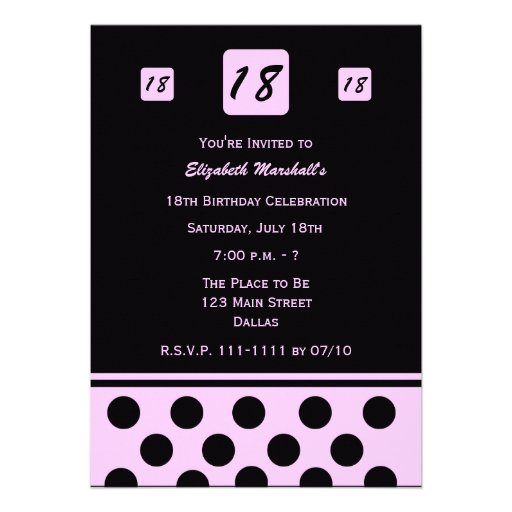 18th Birthday Party Invitation - Modern 18 in Pink Personalized Announcement
