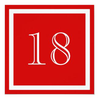 """18th Birthday Party Invitation - Red 5.25"""" Square Invitation Card"""