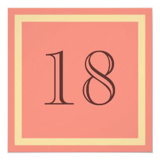"""18th Birthday Party Invitation - Salmon Coral 5.25"""" Square Invitation Card"""