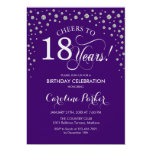 18th Birthday Party Invitation - Silver Purple