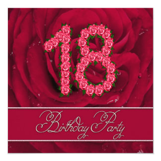 18th birthday party invitation with roses