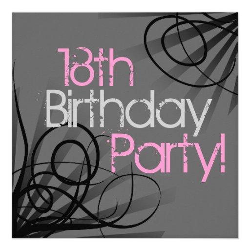 """18th Birthday Party Invitations 5.25"""" Square Invitation"""