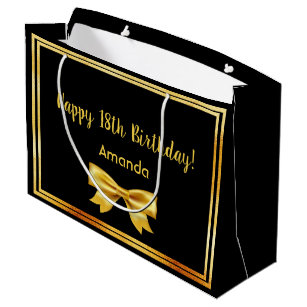 18th Birthday Party On Black Gold Frame Name Bow Large Gift Bag