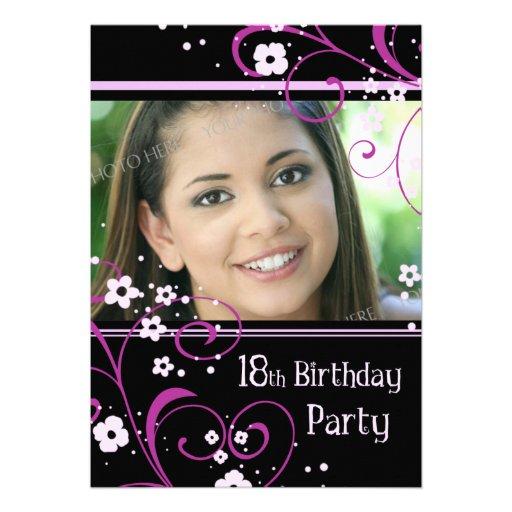 "18th Birthday Party Photo Invitation Card 5"" X 7"