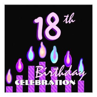 18th Birthday Party Purple Pink Striped Candles Invitation