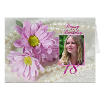 18th birthday photo card with daisies