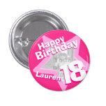 18th Birthday photo fun hot pink button/badge