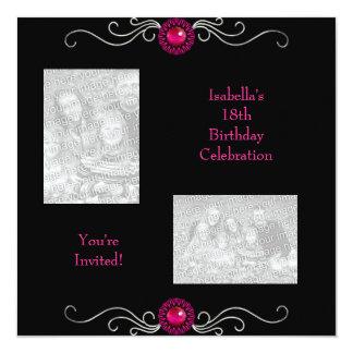 18th Birthday Photos Black Silver Pink Jewel Trim Card