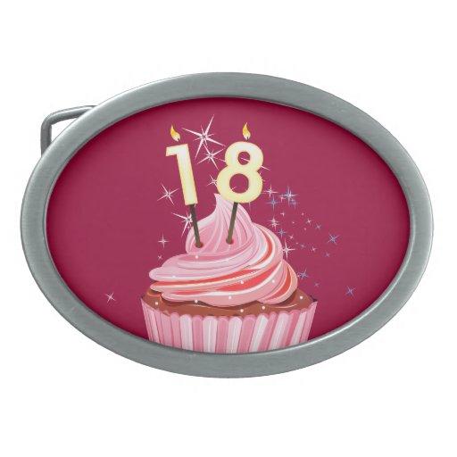 18th Birthday - Pink Cupcake Belt Buckles