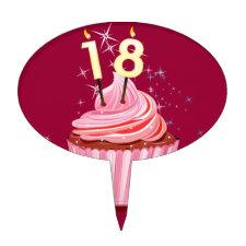 18th Birthday - Pink Cupcake Cake Picks