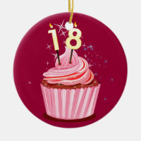18th Birthday - Pink Cupcake Ceramic Ornament