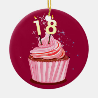 18th Birthday - Pink Cupcake Double-Sided Ceramic Round Christmas Ornament