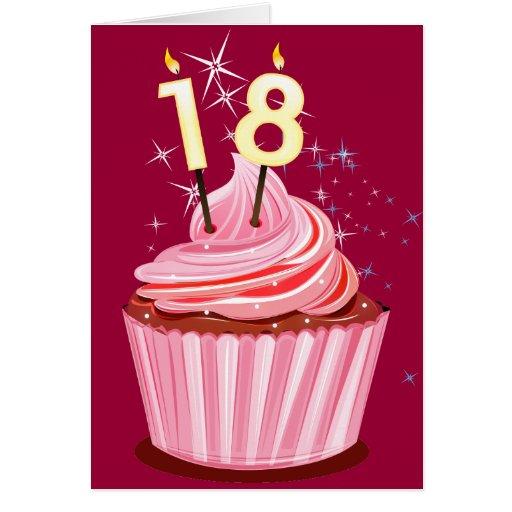 18th Birthday - Pink Cupcake Greeting Card