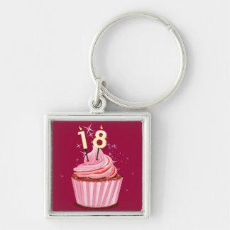 18th Birthday - Pink Cupcake Keychain