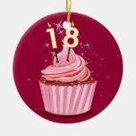 18th Birthday - Pink Cupcake Christmas Tree Ornaments