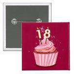 18th Birthday - Pink Cupcake Pin