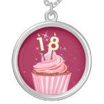 18th Birthday - Pink Cupcake Round Pendant Necklace