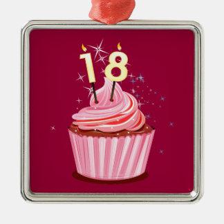 18th Birthday - Pink Cupcake Square Metal Christmas Ornament