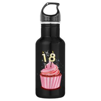 18th Birthday - Pink Cupcake Water Bottle