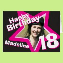 18th birthday pink custom photo card