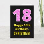 "[ Thumbnail: 18th Birthday: Pink Stripes and Hearts ""18"" + Name Card ]"