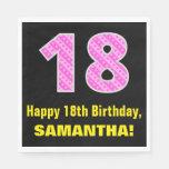 "[ Thumbnail: 18th Birthday: Pink Stripes and Hearts ""18"" + Name Napkins ]"